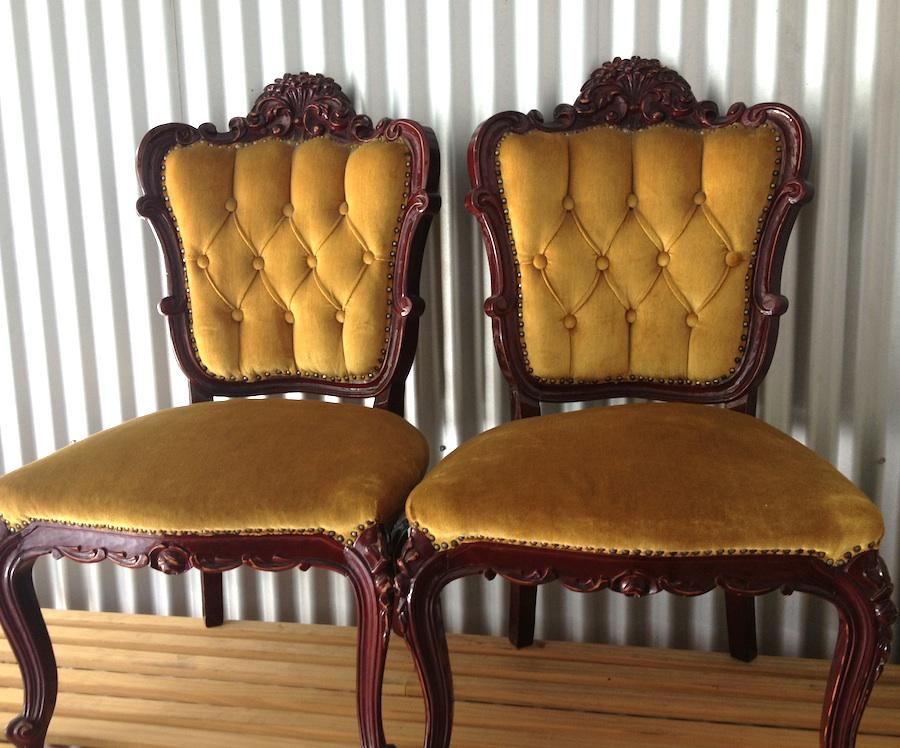 Vintage Velvet Parlour Chairs