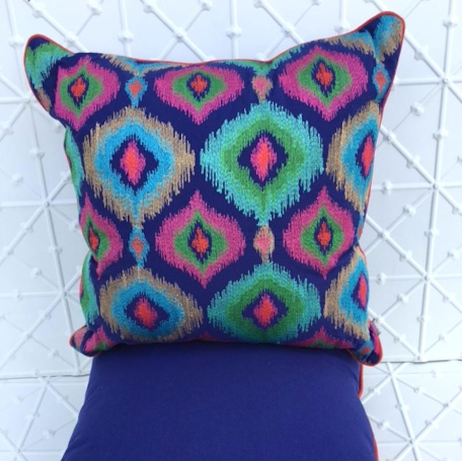 Blue peacock cushion