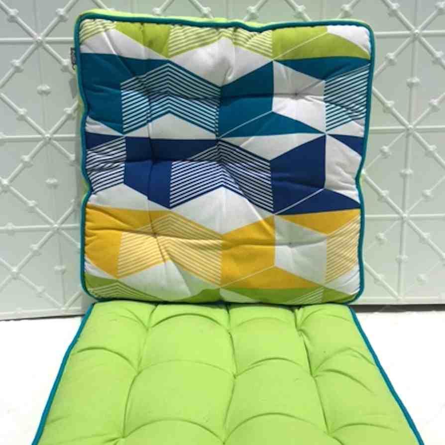 Kas reversible green seat cushion