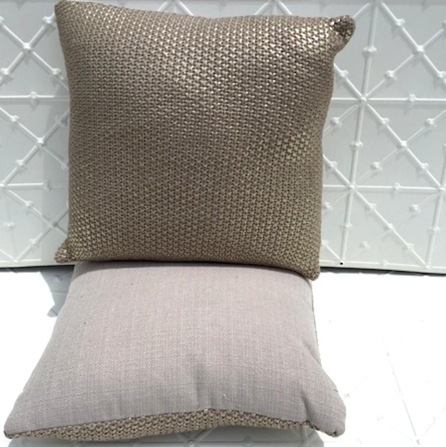 Metallic knit cushion