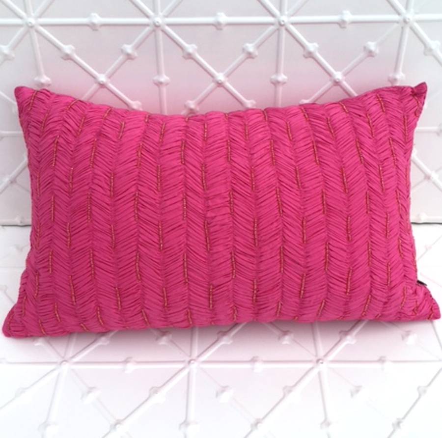 Hot pink rectangle cushion