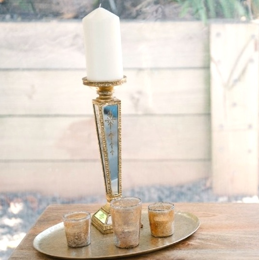 Gold Mirror Candle Holders