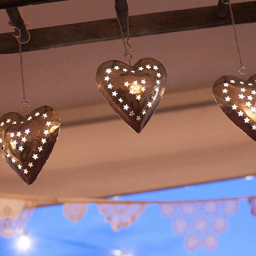 Hanging heart lanterns