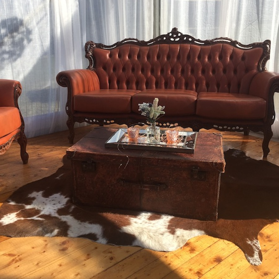 cow hide rug south coast decor hire