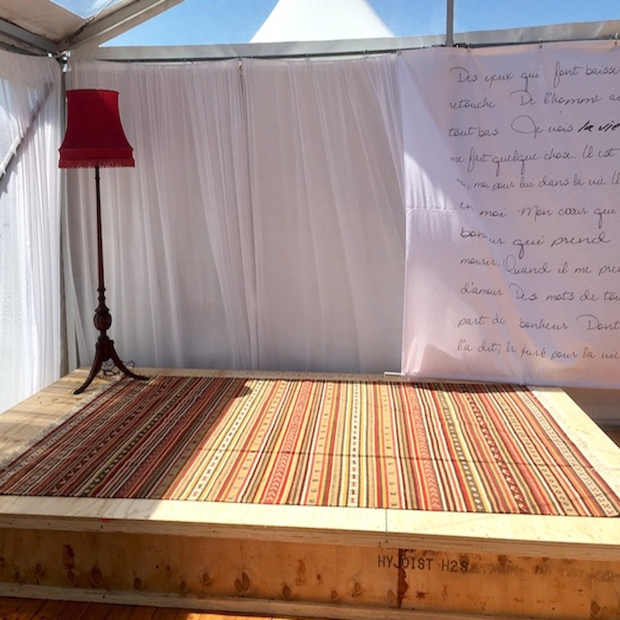 Rug and lamp for party hire