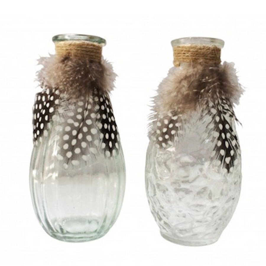 Glass Bottle & Feathers