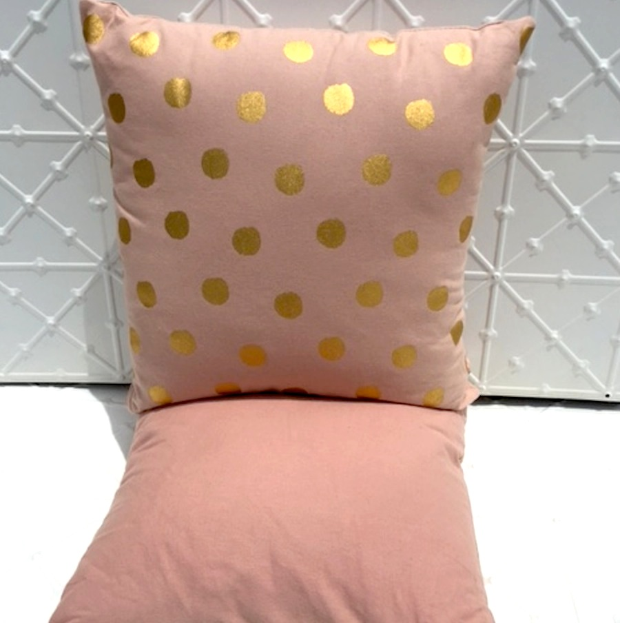 Blush Cushion with Gold Dots