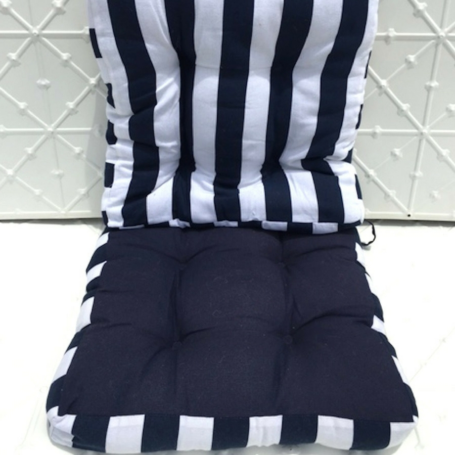 Navy Stripe Seat Cushion