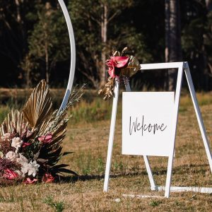 White Rectangle Welcome Sign